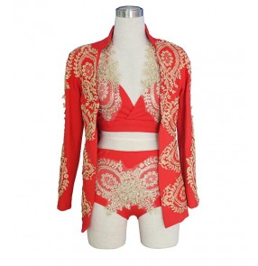 Fashion red gold Embroidery Women Princess Sexy 3 Piece Dress Jazz dance ds costume DJ Female Singer Performance wear