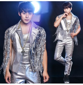 new fashion men's silver vest sequins nightclub bar outerwear jacket costume male dj singer dance stage coat jazz blazer Pants