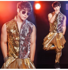 Nightclub sequined Male Gold silver Tassel  Gold Vest costume Party show stage performance wear male Ds Dj Suit pants