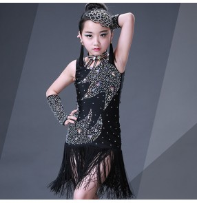 Black Girl competition rhinestones tassels Latin Dance Dress Children Ballroom Dance Dresses Kids Salsa Rumba Cha Cha Samba Tango Dress