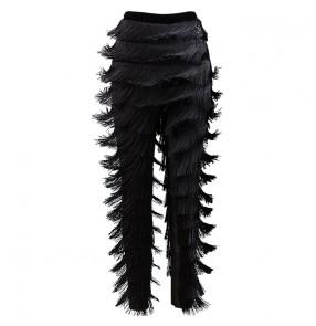 milk silk long length layers fringes competition women's latin dance trousers women latin tassel trousers pants