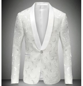 fashion white male singer DJ slim gentleman wedding party groomsmen party dj ds costume jacquard blazer dancing jazz jacket men's coat