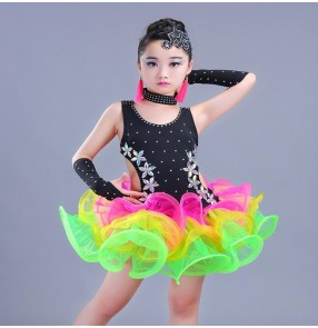Rainbow vestido latino de chica Stage Performance Girls Costumes Latin Dance Clothing diamond  Kids Latin Salsa Dresses Samba Dance Costumes