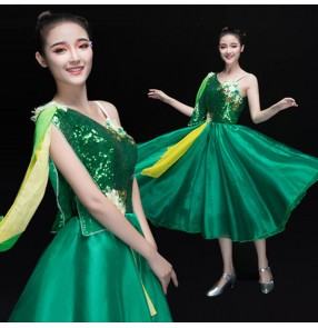 Green sequined vestido de baile moderno Folk Dancing Women's Opening Stage Costumes modern dance Chorus Dress