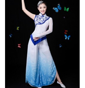 China blue white traditional chinese folk dance costumes clothing for women dance chinese national folk dance costume women costume for fan