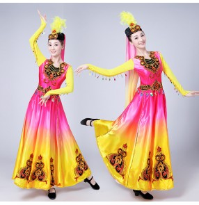 Chinese Folk Dance Costume Ancient Traditional National Minority Xin Jiang Stage Dance Dress Xinjiang Clothing For Women
