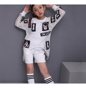 white Children Sets Girl Boy Black Jazz Hip Hop Modern Dance wear Set Kid Dance Costume long Sleeves Top & shorts