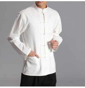 Men Chinese Traditional Tang Suit Jacket Wu Shu Tai Chi Clothing Shaolin Kung Fu Wing Chun Shirt Long Sleeves Exercises Costume