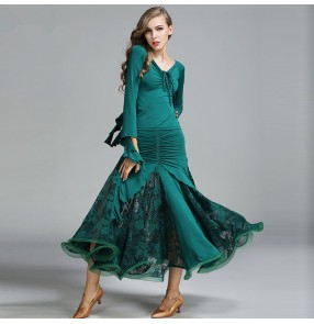 Dark green black wine Ballroom Dance Dresses Standard Stage Costume Performance Women's Smooth Ballroom Dress Modern Waltz Tango