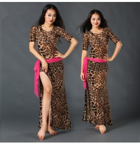 Leopard orange floral Belly Dance Costumes Indian Dress Belly dance Dress Womens Belly Dancing Costume Sets Tribal dresses