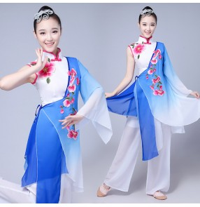 Blue gradient Traditional Chinese Clothing Women Ancient Chinese Style Costume Chinese Yangko Folk Dance Costume Fan Dance Costumes