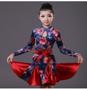 long sleeves velvet floral kids Latin dance one piece dresses for little girl children ballroom costume performance wear