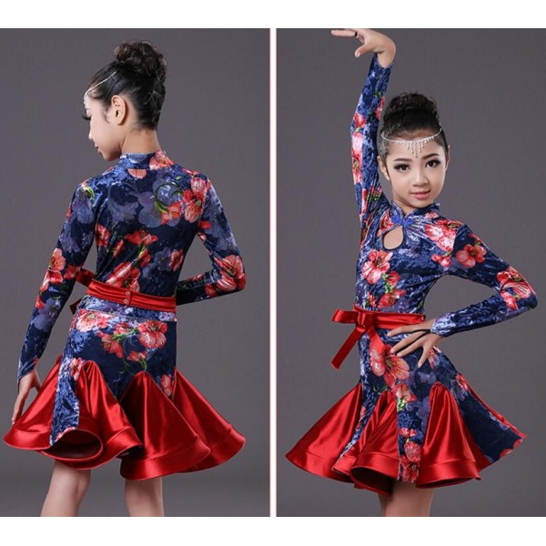 9528f88e8 long sleeves velvet floral kids Latin dance one piece dresses for ...