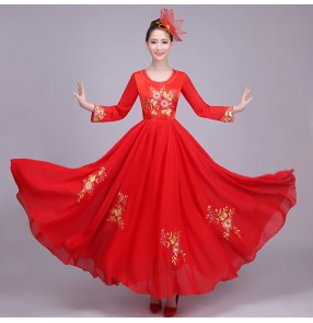 Red blue chorus Flamenco dance dress spanish dance costume spanish flamenco dress with headress