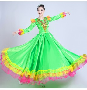 Spanish  red gold Dance Costume Long sleeves Flamenco Dance Dress Big Swing Performance Dress Female Opening Stage Skirt