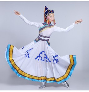 white red green Mongolian costume dance clothes Ancient princess dress stage performance clothing Chinese folk dance costumes