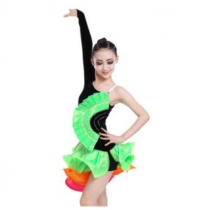 Green orange black rainbow colored long sleeves one shoulder velvet competition stage performance ballroom latin dance dresses