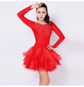 Red stones competition Stage long sleeves Women Lady Latin Dance Dresses dance Costume Performance dresses outifts vestido de danza latina