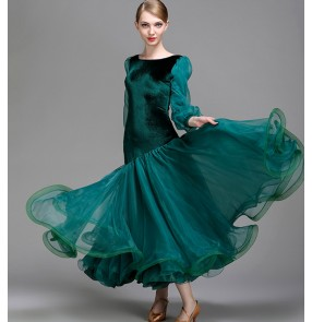 Wine dark green black professional long sleeves Ballroom Standard Dance Dress women's Waltz Dance Competition Dress Ballroom Dance Dress