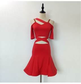 Hollow crossed sexy shoulder red black fashion women's competition performance latin salsa rumba dance dresses outfits
