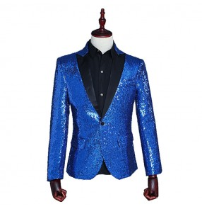 Men's male royal blue red sequined competition stage performance party show jazz night club dancers singers dance jackets blazer suit dresses