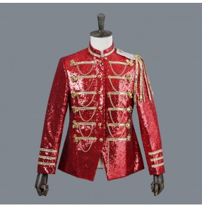 Red black silver men's sequined long sleeves England competition stage party show performance jazz singers dancers dance blazers jackets