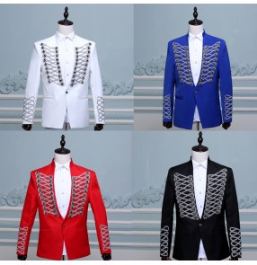 Black red white royal blue England style competition host photos men's model show performance jazz singers dancers jacket coats