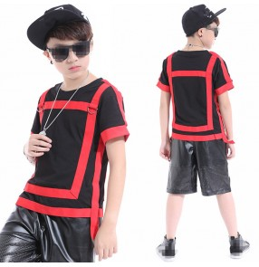 Red black patchwork leather fashion boy's competition model drummer performance hip hop jazz singers dancers dance outfits top and shorts