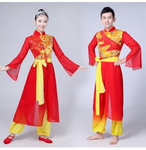 Ancient Traditional red gold dragon Embroidery men Women Chinese Folk Dance Costume Chinese drummer Fan Dance costumes
