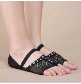 Beige black diamond Heel Protector Professional Ballet Dance Thong Socks Belly Dancing Foot thong Dance Accessories Toe Pads