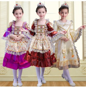 Beige light yellow purple wine satin girl's children kids European palace classical Russian French princess party folk photos film cosplay dance dresses