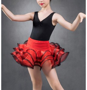 Black and red and royal blue patchwork sleeveless leotards top competition practice performance latin salsa cha cha dance dresses