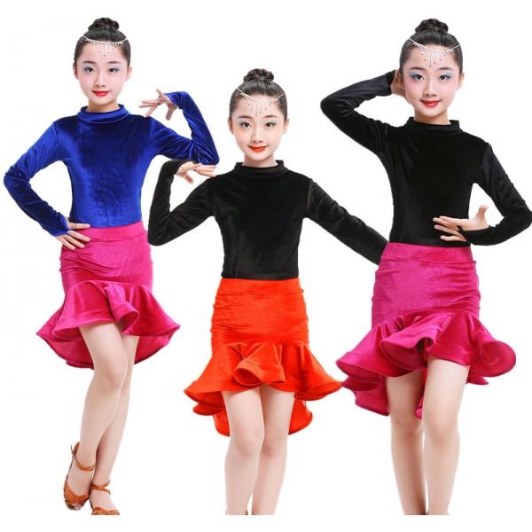 93dbd2c52 Black and red royal blue fuchsia velvet Kid Girls Latin Dance Dress ...