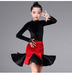 Black and red velvet Girl Long Sleeves Latin Dance Dress Children Ballroom Dance Dresses Kids Salsa Rumba Cha Cha Samba Tango Dress