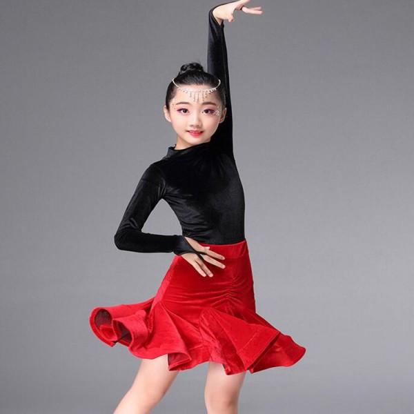 377213bdf85b1 Girls Kids Children Modern Ballroom Latin Dance Dress Green Fringe Salsa  Tango Dance Wear Black Performance ...