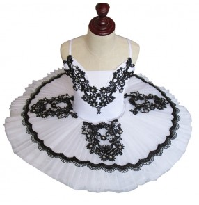 Black and white classical profe ssional pancake platter ballet dance womens tutu costume girl tutu ballet dress vestido de danza de ballet