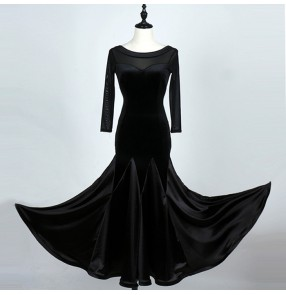 Black Ballroom dance costumes sexy senior long sleeves velvet ballroom dance dress for women ballroom dance competition dresses