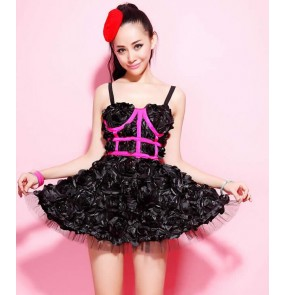 black Fashion rose Women Princess Sexy One Piece Dress Jazz dance ds costume DJ Female Singer Performance wear dresses
