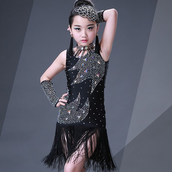 15b375839 Black Girl competition rhinestones tassels Latin Dance Dress Children  Ballroom Dance Dresses Kids Salsa Rumba Cha Cha Samba Tango Dress