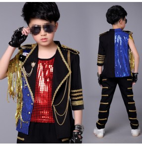 Black gold blue Boys Sequin singers dancers Jazz Hip Hop Dance Competition performance Costumes Set Tops Pants vests Dancing Clothes Outfits