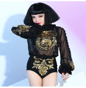 Black gold sequined competition singers Jazz Dance Modern Dance Costume Fashion Dancing Dress Stage Show Dresses outfits