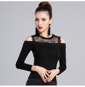 Black Hollow back long sleeves women's ladies v women's ladies  performance competition ballroom latin dance tops shirts