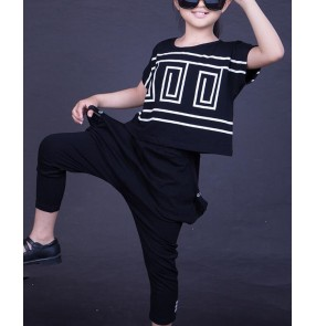 Black Kids Children  Hip Hop Dance Costume Stage performance Jazz Dance Costumes Suit Girls Boys tops and Pants