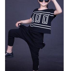 Black Kids Children  Hip Hop Dance Costume Stage performance Jazz Dance Costumes Suit Girls Boys tops and Pants