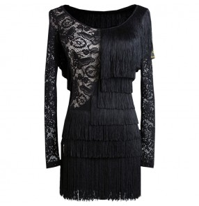Black lace  backless layers fringes skirts women female sexy competition latin ballroom dance dresses