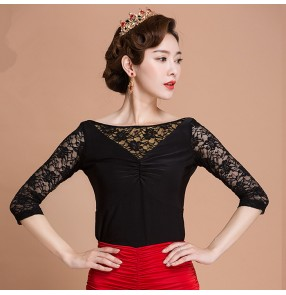 Black lace patchwork half sleeves turtle neck women's ladies competition stage performance latin ballroom dance shirts tops