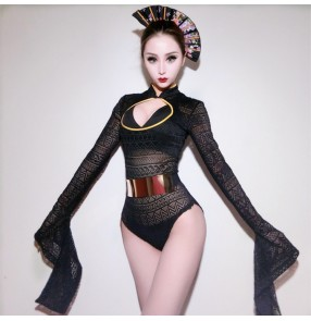 Black lace women's female night club bar singers model show stage performance photos shot lead dancers jazz pole dance bodysuits dresses