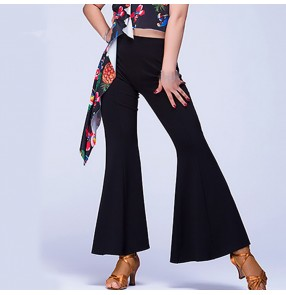 Black lady female women's flare leg hem fashion practice competition latin ballroom cha cha salsa dance pants