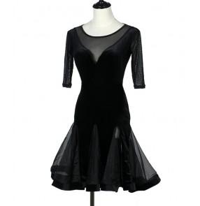 Black Latin Dance Dress Women short sleeves velvet Salsa Samba Ballroom Competition Costume Lady Dance Dresses