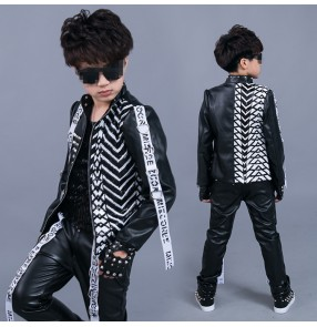 Black leather fashion sequined boy's kids children jazz singers hip hop performance show competition drummer dance outfits jacket t shirt and pants